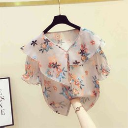 Wholesale beautiful short blouses for sale - Group buy Summer Women V Neck Ruffles Floral Chiffon Shirt Blouse Beautiful Short Sleeves Shirts Tops Ladies Blouuse Blusas A3329