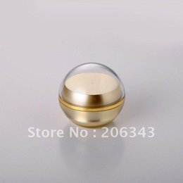 Discount acrylic 15g cosmetic jars 15g Gold pearl White Acrylic Ball Shape Cream Jar Plastic For Night Cream gel essence moisturizer wax Cosmetic Packing Storage Bottles & Jar