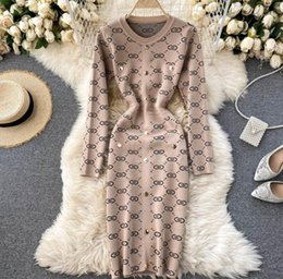 Knitted Sweater Dress Women's Autumn Winter New Fashion Retro Round Neck Jacquard Tight Package Hip on Sale