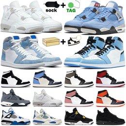 Wholesale Basketball Shoes men women 1s 4s high OG 1 Hyper Royal University Blue Dark Mocha Twist Cement White Oreo Black Cat mens sneakers