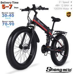 Wholesale EU Mx01 Shengmilo 26 Inch Folding Electric 1000W Mountain Bike 40km h City Fat Tire Bicycle E-bike
