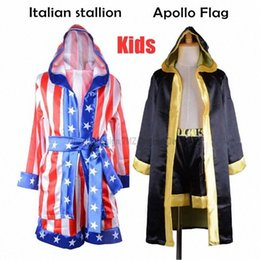 Wholesale Italian stallion Halloween Costumes Boxing Robe Children Boy Red Black Rocky Balboa Boxer Clothes with shorts Movie Flag Pattern
