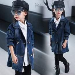 Discount blue denim jacket coat girls Autumn Baby Girls Fashion Denim Jacket Letters Pattern Outerwear Slim And Long Sections Trench Coat Tops Jackets