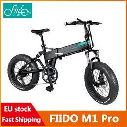 Großhandel [EU-Instock] Fiido M1 Pro Elektrische Fahrrad 20 Zoll Fettreifen 12.8ah 48 V 500 Watt Falten Moped Fahrrad 50km / h Höchstgeschwindigkeit 130km Kilometer Reichweite Inklusive Mehrwertsteuer