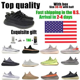 IN US Warehouse Men Women Running Shoes Top Quality Yecheil Cinder Static Clay Tail Light Cream White Black Red Zebra 38-46 Half Size With Box