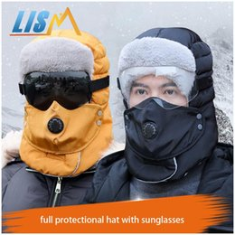 Discount tennis sunglasses Thick Warm Winter Outdoor Bomber Hat Windproof Leifeng Full Protectional Hats With Sunglasses