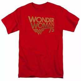 ingrosso meraviglia donna logo-Wonder Woman th Anniversary Gold Logo T Shirt Mens Licenza DC Comics Tee Red