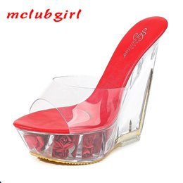 transparent wedges slippers UK - Mclubgirl Platform Ultra-High-Heel Sandals And Slippers High Transparent Shaped Crystal Shoes Platform 15CM Wedge Shoes LFD 210507