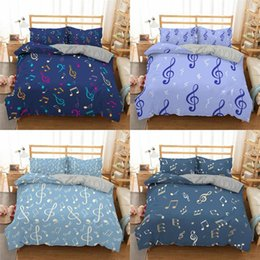 musical bedding sets UK - Musical Note Pattern Bedding Sets Printing Duvet Cover Pillowcase Comforter Home Textile King Queen Size
