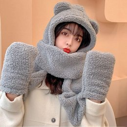 woman cute winter scarfs 2021 - Three-piece Hooded Winter For Girls Thick And Warm Cute Bear Hat Women's Earflap Scarf Gloves One Outdoor Hats