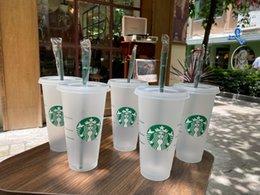 Starbucks 24oz 710ml Plastic Tumbler Lid Reusable Clear Drinking Flat Bottom Pillar Shape Straw Bardian Mugs Color changing Flash Cups 50pcs DHL Free on Sale