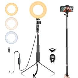 Опт Сотовый телефон фотографии аксессуары светодиодный кольцевой свет 6 дюймов Гимбальный металлический металлический кронштейн Selfie Stick Bluetooth набор