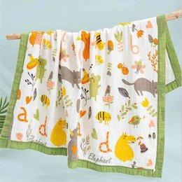Baby Bath Towel Printing Cartoon Towelling 6 Layers Infant Swaddling Blanket Gauze Cotton Newborn Wrap Cloth Stroller Blankets WMQ590 on Sale
