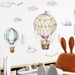 Wholesale balloons design cartoons resale online - Cartoon Cute Animals Hot Air Balloon Wall Stickers for Kids Room Baby Nursery Room Wall Decals Bedroom Decoration Home Decor PVC