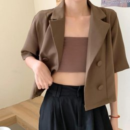 Wholesale short sleeve fitted blazer for sale - Group buy Women Fashion Short Sleeve Fitting Blazer Coat Office Ladies Double Breasted Casual Suits Chic Summer Tops Women s Blazers