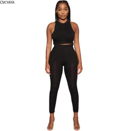 two piece sweatpants UK - CM.YAYA Sport Solid Women Two Piece Set Tracksuits Tank Tops Stacked Pencil Jogger Sweatpants Suit Outfits Matching Dress