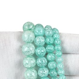 6 8 10mm Blue Cracked Crystal for Diy Bracelet Jewelry Making Quartz Round Beads Wholesale Perles 15'' strand 931 T2 on Sale