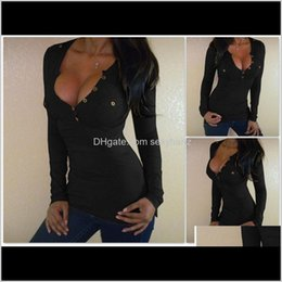 black low cut sexy shirt 2021 - & Tees Womens Apparel Drop Delivery 2021 Autumn Black Women Long Sleeve T-Shirt Fashion Front Pockets Low Cut Sexy Tops Casual Femal Tight Bu
