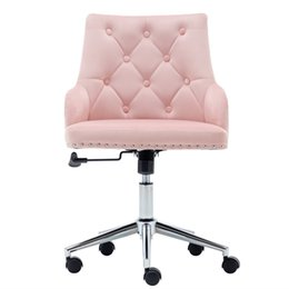 WACO High Back Office Velvet Chair Furniture Home, Swivel Modern Design for Task Computer Reception Bedroom Study, with Arms (Pink) on Sale