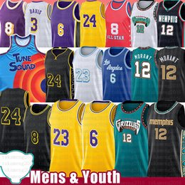 Toptan satış Memphis Grizzlies Ja 12 Morant Los LeBron 23 6 James Angeles Kobe 24 8 Bryant Lakers Basketball Jersey Anthony 3 Davis Kyle 0 Kuzma Earvin 32 Johnson Shaquille 34 O'Neal