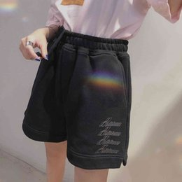 Wholesale screen shorts resale online - women s We11done bullet screen same shorts men s and style Capris loose early spring high street welldone trendy pants summer