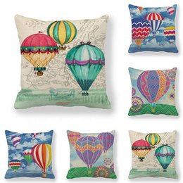 Wholesale balloons design cartoons for sale - Group buy 45cm cm Cushion Cover Cartoon Air Balloon Design Linen cotton Pillow Case Sofa And Home Decorative Cushion Decorative