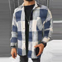 Wholesale premium shirts resale online - Fashion Color Matching Plaid Printed Shirt Spring Men s Premium Cardigan Lapel Long sleeved Tops Casual Shirts
