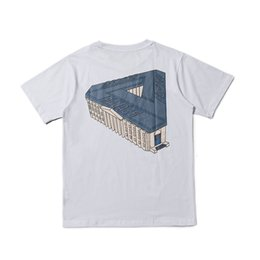 Discount palace skateboards skateboard High version tide brand palace 3D palace Triangle Building printed men's and women's short sleeve lovers T-shirt