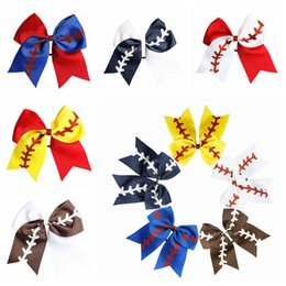 Wholesale 10 Colors Softball hair Headband Girl Baseball Cheer Hairbands Rugby Bowknot Dovetail Hair Bows Accessories Rubber Band 778 T2