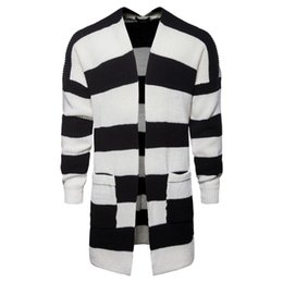 Wholesale striped cardigan sweater black white resale online - Cardigan Mens Collared Cardigan Jackets Men s Middle Long Black and White Striped Printed Knitted Sweater Jackets
