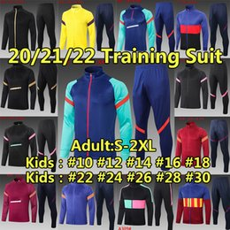 Discount messi kid jerseys Barca tracksuits sweater set Winter jacket soccer jerseys 2021 2022 Messi ANSU FATI Men kids kits 21 22 Survetement tracksuit Training football shirt