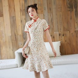 girl chinese cheongsam dress UK - 3522# Summer Young Girl Modified Dress Vintage Retro Chinese Improved Cheongsam Elegant Mandarin Collar Female Qipao Ethnic Clothing