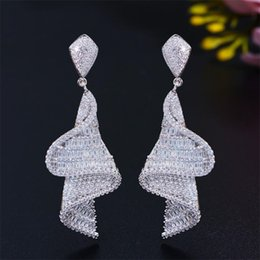 925 sterling silver screws 2021 - Luxury Jewelry Dangle Earrings Handmade Sparkling 925 Sterling Silver Full Princess Cut White Topaz CZ Diamond Gemstones Women Party screw tassels Earring Gift