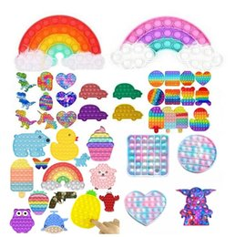 Venta al por mayor de DHL 24H shi !! Rainbow Push Bubble Bubble TI Fidget Toy Sensory Relevista Estrievo Estrés Alivio Juguetes Análisis Análisis para niños Regalos de fiesta de cumpleaños 2021
