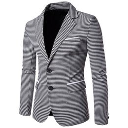 Wholesale men wedding long coat resale online - NIBESSER Casual Plaid Print Men Blazer Fashion Long Sleeve Wedding Dress Coat Autumn White Social Business Mens Blazer Jacket