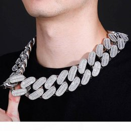 HIP Hop Claw Set CZ Stone Bling Iced Out 20mm wide Big Solid Cuban Curb Miami Link Chain Necklaces for Men Rapper Jewelry