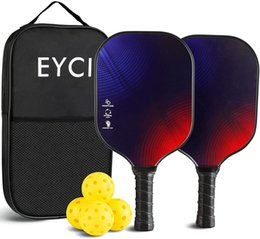EYCI Pickleball Paddles(Graphite)Set of 2,Sports & Outdoors Balls Games, Polypropylene Honeycomb Core, ,4 Pickleballs with Carry Bag