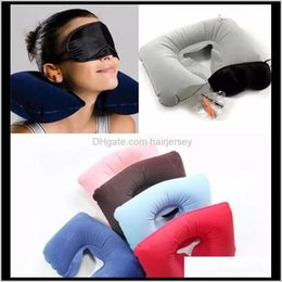 inflatable mask Canada - 3 In1 Travel Office Set Inflatable U Shaped Neck Pillow Air Cushion Sleeping Eye Mask Eyeshade Earplugs Vu2Ej D3X2I
