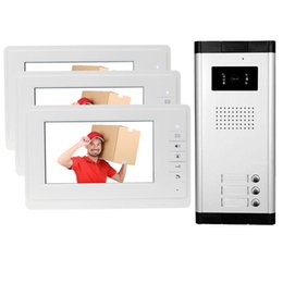 Brand 7'' Color Video Door Phone 3 Monitors With 1 Intercom Doorbell Can Control Houses For Multi Apartment Phones on Sale