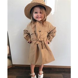 Wholesale trench coat collar up for sale - Group buy Khaki Trench Toddler Baby Girls Turn Down Collar Lace Up Long Kids Autumn Winter Windbreaker Outwear Warm Clothes Coat