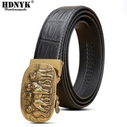 cool belt buckles 2021 - Fashion Cool Design Luxury Belt Cowskin Leather Belts For Men Retro Automatic Buckle Top Quality Waistband Strap