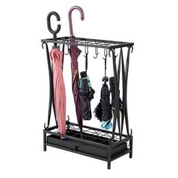 Современный держатель для хранения стойки зонтика, металлический отдельно стоящий, 21-слот с 12 крючками и съемным базовым капельным лотком, черный на Распродаже