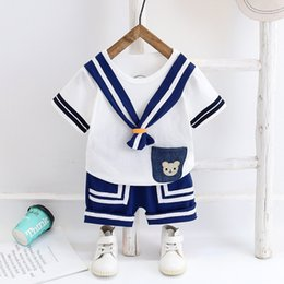 Wholesale white military suit for sale - Group buy Summer Navy Style Set Girls Boys Cotton Clothes Short Sleeve T shirt Shorts for Toddler Kids Baby Costume Cute Suit