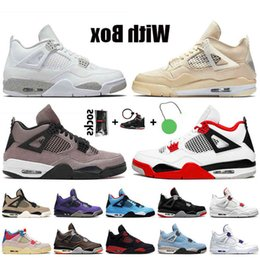 With Women Mens Jumpman 4 Sail Fire Red 4s Shoes White Oreo Taupe Haze Travis Bred Guava Ice Trainers Sneakers on Sale