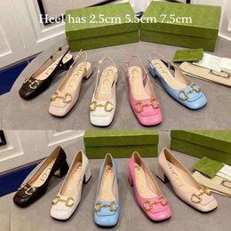 Heels shoes Classics Women Summer Sandals fashion shoe Beach Thick bottom slippers Alphabet lady Leather 2.5cm 5.5cm 7.5cm High heel slides 01 on Sale