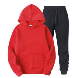 two piece sweatpants UK - Men Sportswear Sets Spring Winter 2020 Casual Tracksuit Men Two Piece Suit Hoodies Sweatshirt + Sweatpants Male Sweatsuit S-3XL