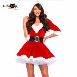 Wholesale superhero costumes woman resale online - New Arrival Christmas Dress Women Christmas Costume For Adult Red Velvet Fur Dresses Hooded Sexy Female Santa Claus Costume