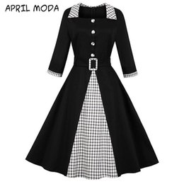 Wholesale 50s fashion dresses resale online - Fashion Vintage Solid Patchwork Cotton Rockabilly Dress With Belt Women Sleeve Party Sexy Retro s Spring Robe Swing Casual Dresses