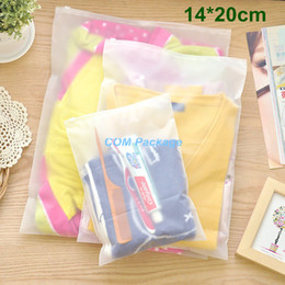 "Cosmetic Bags Locks Canada - 14*20cm (5.5*7.9"") Matte Clear Plastic Storage Bag Zipper Seal Travel Bags Zip Lock Valve Slide Seal Packing Pouch For Cosmetic Clothing"