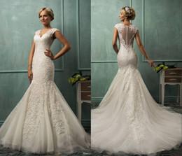 $enCountryForm.capitalKeyWord Canada - 2015 Amelia Sposa V Neck Cap Sleeve Mermaid Wedding Dresses Lace Tulle Appliqued Sheer Backless Plus Size 2015 Bridal Gown
